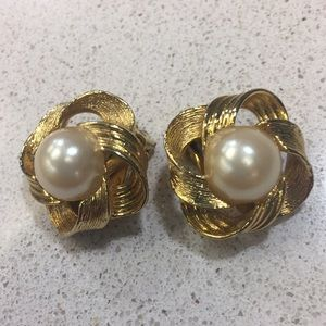 Simulated Pearl Gold Tone Clip Earrings